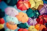 Background colorful umbrella street decoration. Selective focus.