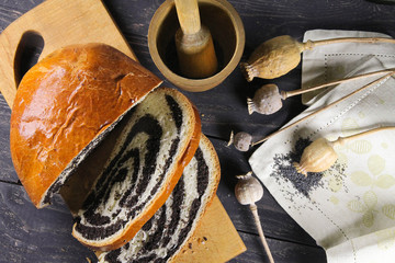 sweet delicious strudel with poppy seeds