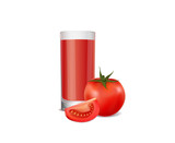 A glass of tomato juice and ripe tomatoes