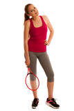 tennis - fit woman with racket isolated over white background