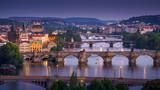 evening panoramic view on Vltava river bridge, Prague, Czech Republic