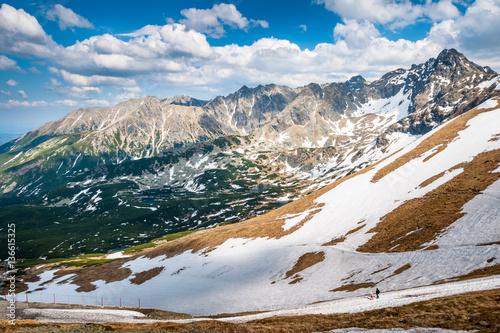 Tatry, widok na  Świnicę, wiosna w górach