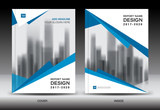 Blue cover design, Annual report template, business brochure flyer, book, vector illustration