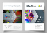 Business templates for brochure, magazine, flyer, booklet or annual report. Cover template, flat vector layout in A4 size. Colorful design background with abstract shapes, bright cell backdrop.