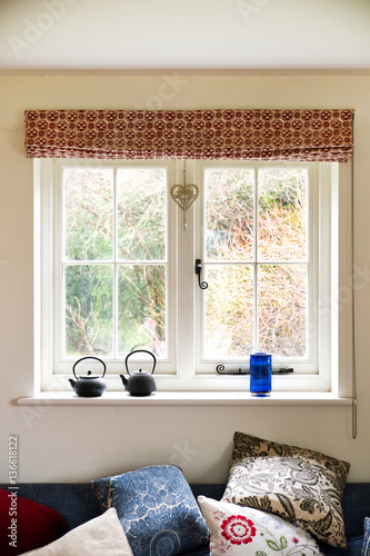 window with view of bushes - 136618122