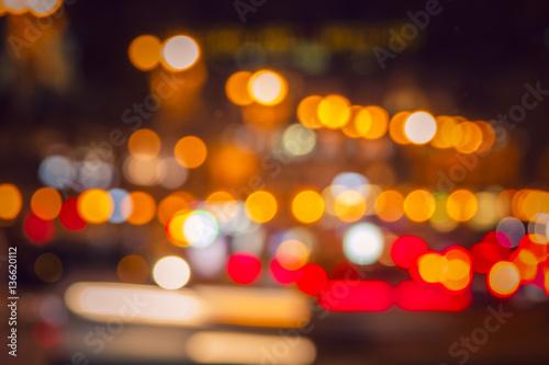 Aluminium Las Vegas Colorful lights from cars in defocus, night, outdoor