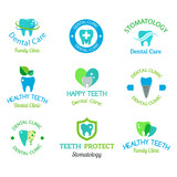 Vector dental stomatology clinic badge icon.