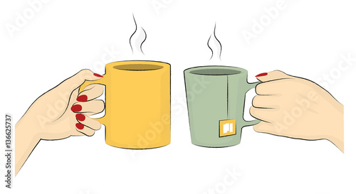 Coffee And Tea Mugs. Vector Illustration Of Hands Of Two Woman Enjoying Their Hot Drinks