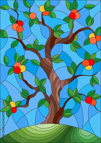illustration-in-stained-glass-style-with-an-apple-tree-standing-alone-on-a-hill-against-the-sky