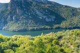 Haliacmon River valley panorama viewed from St. John the Baptist hermitage monastery. Imathia, Central Macedonia, Greece.