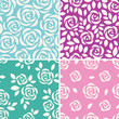 Set of vector seamless patterns with abstract roses. Floral background with flower silhouette