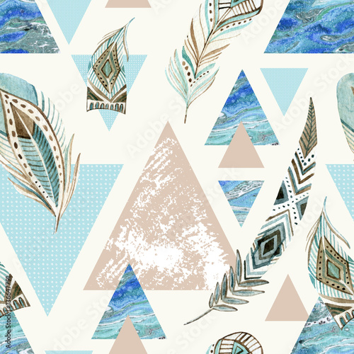 Fototapeta Abstract grunge geometric seamless pattern.