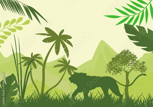 Fototapeta Silhouette of green lion and wild jungle, trees.