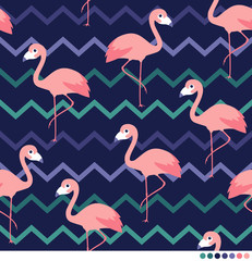 Flamingo vector pattern with zigzag background.