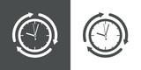 Icono plano reloj con flechas girando gris y blanco