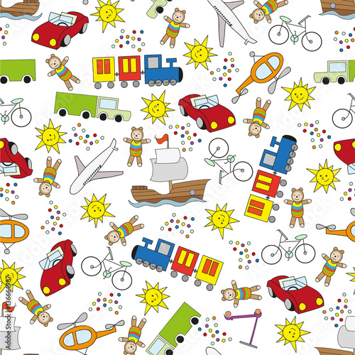Cotton fabric Colorfull seamless pattern for boys on white background