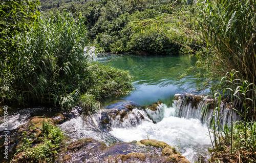 Foto op Canvas Caraïben Waterfall, Croatia, Krka National park lake