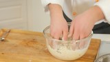 Making potato dough for dumplings or gnocchi