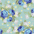 Blue cabbage roses and small white flowers ,seamless pattern 1 - 136679393