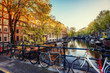 Bicycles Parked Along a Bridge Over the Canals of Amsterdam, Net