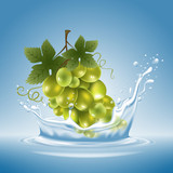 Grape in water splash