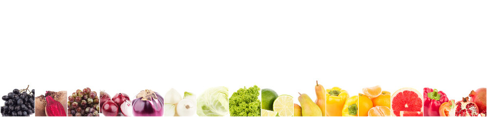 Line from different raw colored fruits, isolated