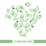 Flying dollars. Isolated on white background.