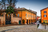 Houses on the square in medieval town of Fontanellato, Emilia-Romagna, Italy.