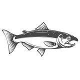 Salmon icon isolated on white background. Seafood. Design elemen