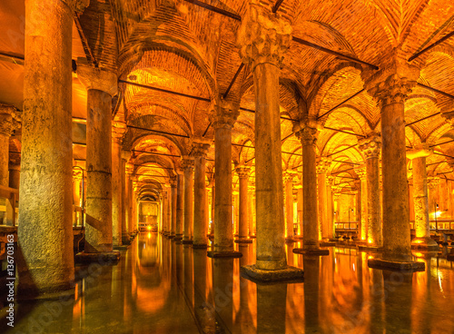 The Basilica Cistern, (Yerabathan), Istanbul, Turkey. Poster