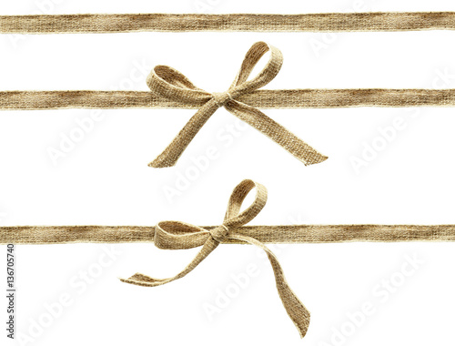 Poster Set of beige canvas ribbons and a bows