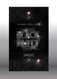 BLACK Party vertical sparkling banner. Vector illustration