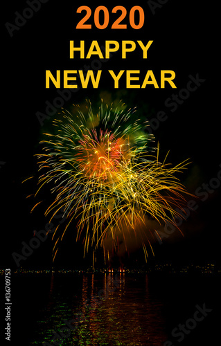 Poster happy new year firework 2020