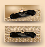 Elegand Luxury event banners with gold floral design background, crown. Vector illustration