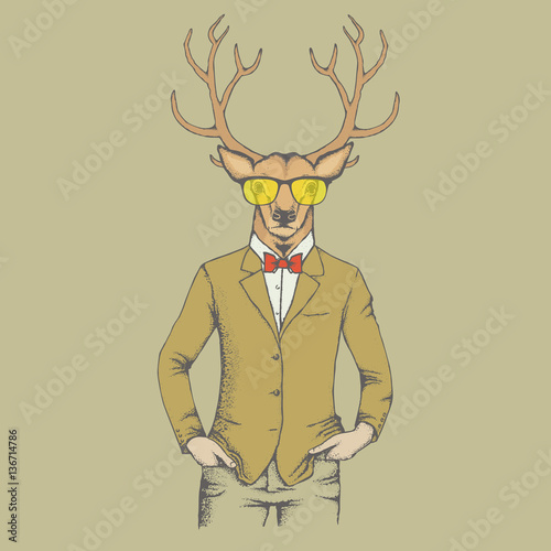 Aluminium Hipster Hert Deer vector illustration