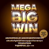 Vector casino logotype Mega big win. Set of letters, numbers and symbols. Contains graphic style