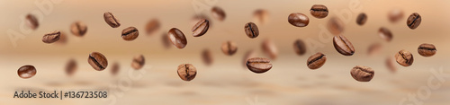 Flying coffee beans horizontal banner - 136723508