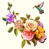 Flowers. Bouquet of roses and peony with humming bird. Vintage picture, can be used as invitation, greeting card, print on clothes, etc. Hand drawn flowers. Vector - stock.