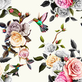 Humming bird, roses and peony with leaves on white. Pastel Watercolor. Seamless background pattern. Vector - stock.