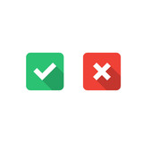 Set of check mark icons. Tick and cross