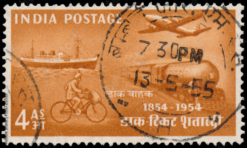 Foto Murales Stamp printed by India shows post transport
