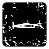 Submarine icon, grunge style