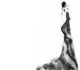Woman with elegant dress. Fashion illustration. Watercolor painting