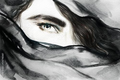 streszczenie-twarz-ilustracja-moda-malarstwo-akwarelowe