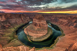 Horseshoe Bend Sunset. Beautiful sunset at the famous bend in the shape of a horseshoe of the colorado river near page, Arizona.