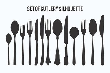 Set of Cutlery silhouette collections
