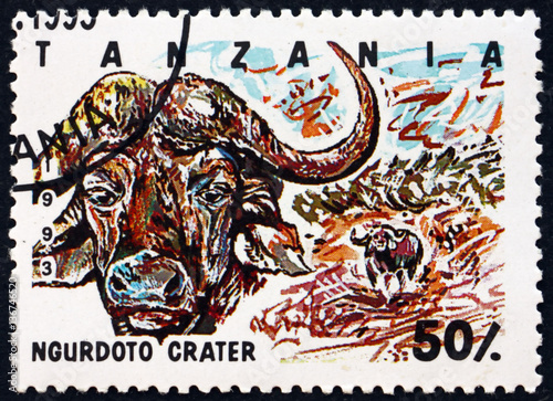 In de dag Zanzibar Postage stamp Tanzania 1993 Ngurdoto crater, national park