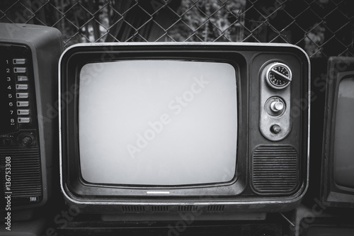 Retro old television in vintage black and whitel color style Poster
