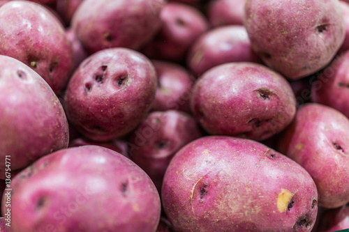 Macro closeup of red potatoes showing texture