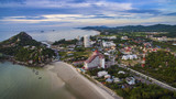 aerial view of wat khao tao temple at khhua hin beach prachuapkh